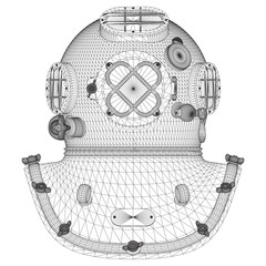 Vintage Diving Helmet Vector 01