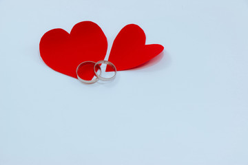 Red heart, Engage ring for love in Valentines Day