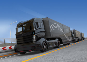 Fleet of autonomous hybrid trucks driving on highway. 3D rendering image.