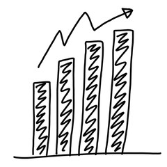 Hand drawn a business bar graph show to concept of data processi