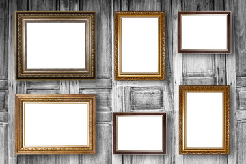 Set of picture frame. Photo art gallery on wood vintage wall.