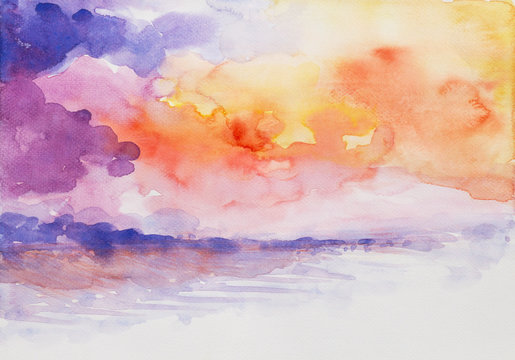 sunset seascape colorful watercolor painted