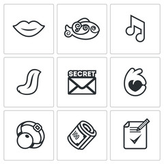 Vector Set of Silence Icons. Muteness, fish, sound, language, secret, gesture, gag, bribe, document on the non-disclosure.