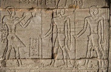 the image of Pharaohs and warriors on walls of the Egyptian temples