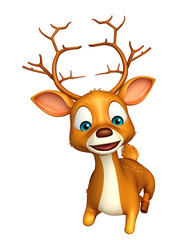 cute Deer cartoon character with sitting down
