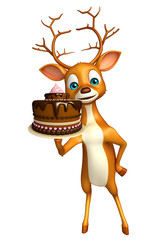 Deer cartoon character with cake