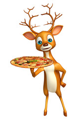fun Deer cartoon character with pizza