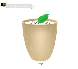 Doogh or Afghan Fermented Milk with Sour and Spice Flavor