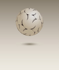 a floating ball of stylized cerebral matter, with waves and cir-convolutions, in neutral beige and black