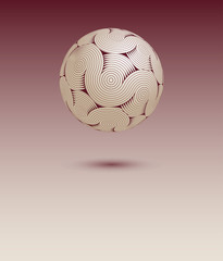 a floating ball of stylized cerebral matter poster background, with waves and cir-convolutions, in wine red and ivory