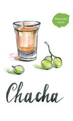 "Glass of georgian vodka ""chacha"" with grape"