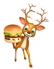 3d rendered illustration of Deer cartoon character with burger