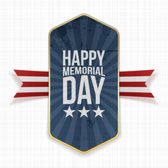 Happy Memorial Day realistic Label and Ribbon