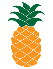 Flat pineapple icon isolated on white background.