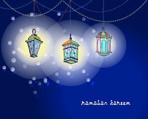 Three Arabic Lanterns or Fanous hanging on threads and shine. Bright stains background. Hand drawn greeting card for Ramadan Kareem, Eid Mubarak