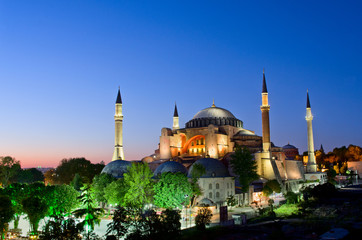 View of Hagia Sofia or Ayasofya at night in Istanbul. Turkey