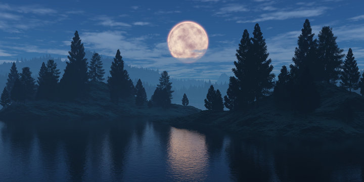 Moon over the forest.