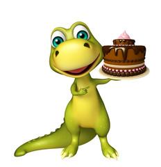 Dinosaur cartoon character with cake