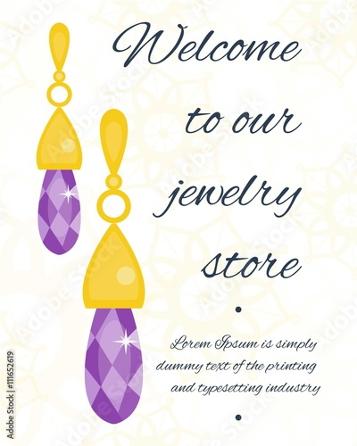 Vector jewelry invitation card or voucher background template