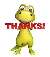 Dinosaur cartoon character with thanks sign