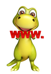 Dinosaur cartoon character with www. sign