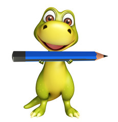 cute Dinosaur cartoon character with pencil