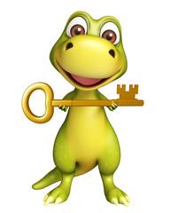 Dinosaur cartoon character with key