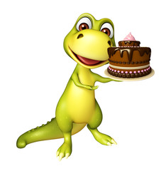 Dinosaur cartoon character with cake