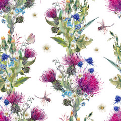 Summer watercolor seamless floral pattern with wild flowers