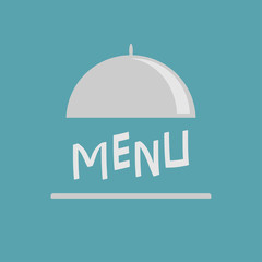 Silver platter cloche. Metal restaurant food cloche. Open metal cloche. Menu cover. Flat design. Blue background.
