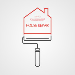 Vector illustration with the roller House repair