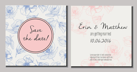 Vector set of wedding invitation. Save the date double-sided card. Trendy color of 2016 Rose quartz and Serenity. Poppy pattern backdround and round text template. Hand drawn.