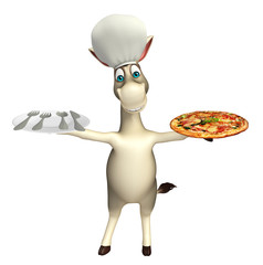 Donkey cartoon character with pizza   , dinner plateand chef hat