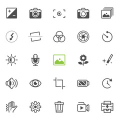 Photography and Camera Function icons with White Background