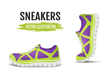 Background of two running shoes. Colorful sport shoes for running and colorful curved sport shoes for running. Vector illustration