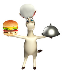 Donkey cartoon character with burger and cloche