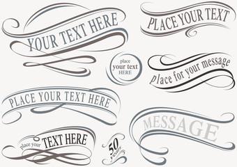 Calligraphic Design Elements - Typographic Illustrations, Vector
