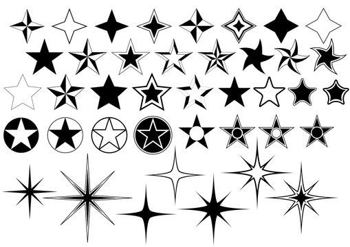 Vector Collection of Star Isolated on White Background