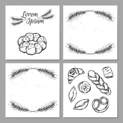 Hand drawn vintage vector illustration - Template for Bakery sho