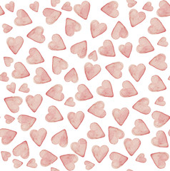 Watercolor hand painted hearts pattern. Seamless texture in light pink colors.