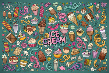 Colorful vector hand drawn doodle cartoon set of ice-cream objec