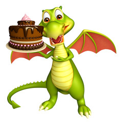 fun Dragon cartoon character with cake