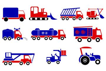 blue and red Heavy Vehicles