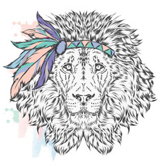 Lion in the Indian dressing with feathers . The leader of the tribe. Vector illustration for greeting cards , posters or prints on clothes and accessories .