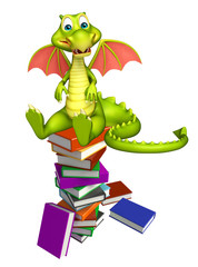 cute Dragon cartoon character with book stack