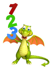 cute Dragon cartoon character with 123 sign