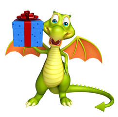 Dragon cartoon character with gift box