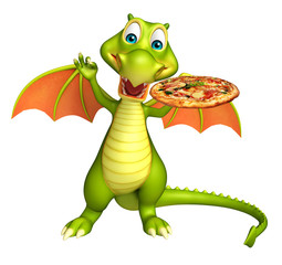 cute Dragon cartoon character with pizza