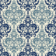 seamless victorian pattern in blue and beige.