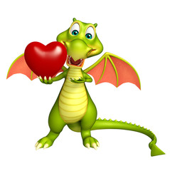 Dragon cartoon character with heart